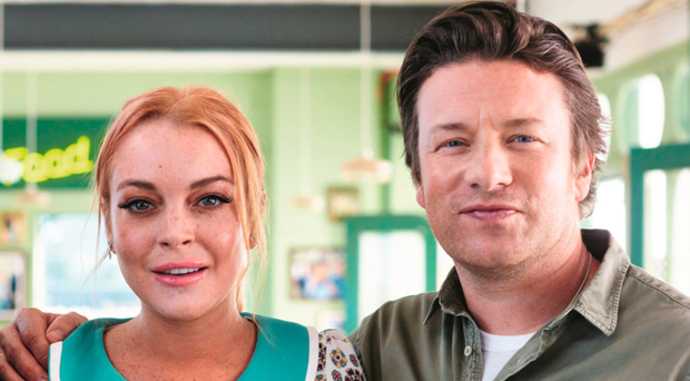 Celebrity team: Lindsay Lohan with Jamie Oliver