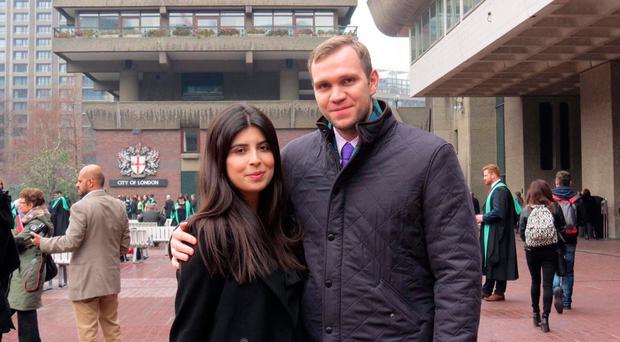 Life in prison: British student Matthew Hedges, above with wife Daniela Tejada, has been jailed in the UAE for allegedly spying for the UK