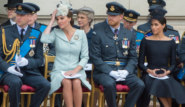 Rift rumours the Duke and Duchess of Cambridge alongside the Duke and Duchess of Sussex at Buckingham Palace in July