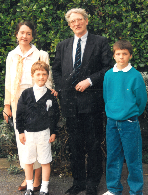 Loving family: Eilis Ni Dhuibhne and husband Bo with sons Olaf (left) and Ragnar at Olaf's first communion in 1992