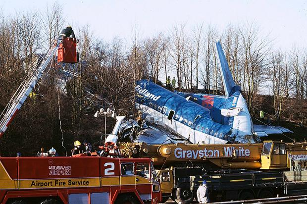 Scarred landscape: the wreckage of the British Midland plane that crashed on January 8, 1989