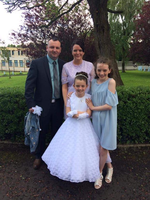 Family support: Shauna McDevitt with her husband Jason and children Abbie (right) and Hannah