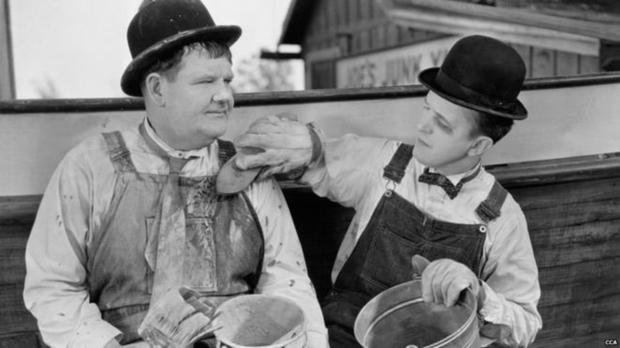 Oliver Hardy and Stan Laurel in action