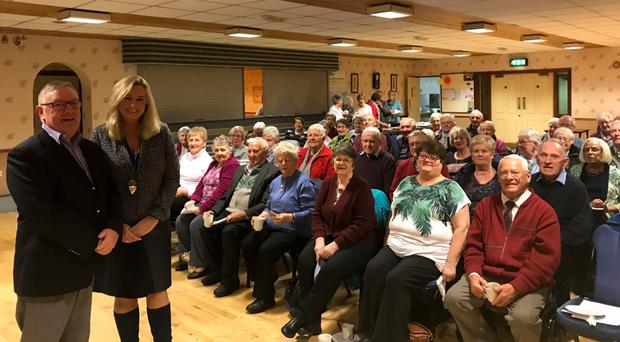 Worthy cause: Jo-Anne Dobson talks about organ donation to members of Hartford Friendship Club in Armagh, with chair Alex Stinson