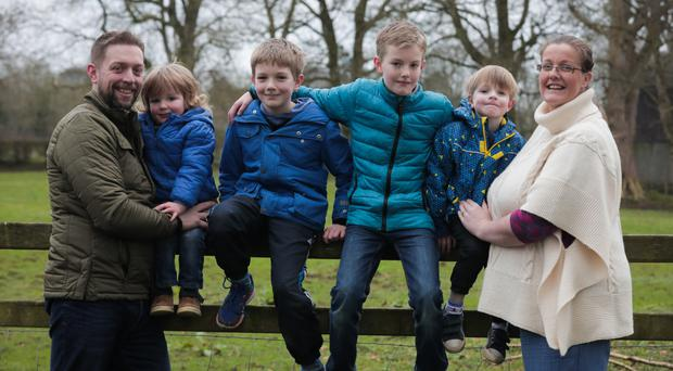 Difficult journey: from left, Rob Humphreys with his children Carter, Reuben, Alfie and Jacob and his wife Danielle