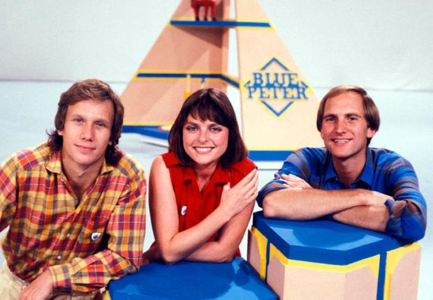 Peter Duncan with fellow Blue Peter presenters Janet Ellis and Simon Groom in the 1980s