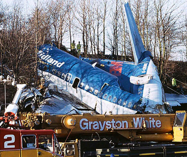 The scene of the Kegworth air disaster, which Stephen was lucky to survive