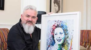 Drawing inspiration: Michael Cameron with the portrait of Ruby Murray that inspired his new play