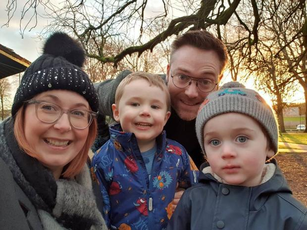 Sarah Bryden with husband Alan and their children Tom (4) and Evan (2)