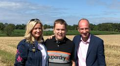 Strong team: Mark with mum Jo-Anne and Stephen Watson, who will feature in a new documentary