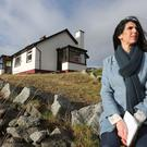 Dark corner: Kathy Donaghy outside Shaun Duffy's home in Meenacross, Dungloe