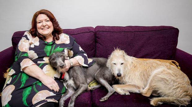 Kim at home with pet lurchers Mabel and Ben