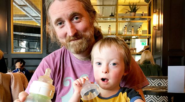 Cormac Neeson with four-year-old son Dabhog