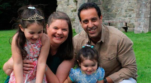 Dr Clare McCaughey and husband Khlaid with their daughters Rania and Rayhana