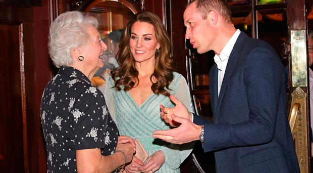 The Duke and Duchess of Cambridge meet Dame Mary Peters during their visit to Belfast Empire Hall for an informal party to celebrate inspirational young people who are making a real difference in Northern Ireland as part of their two day visit to Northern Ireland. PRESS ASSOCIATION Photo. Picture date: Wednesday February 27, 2019. See PA story ROYAL Cambridge. Photo credit should read: Aaron Chown/PA Wire