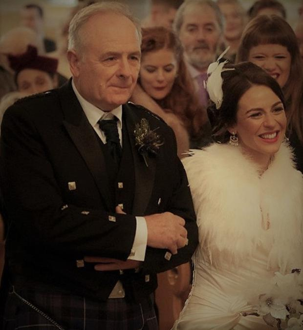 Roisin Gallagher with her father Daniel on her wedding day