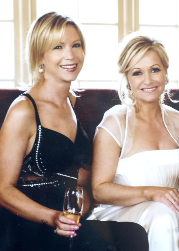 Wonderful day: Emma Hannigan and Cathy Kelly at Cathy's wedding in 2010