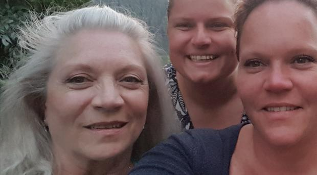 Loving family: Patsy Stanfield with her daughters Katy-Ann and Dawn in France