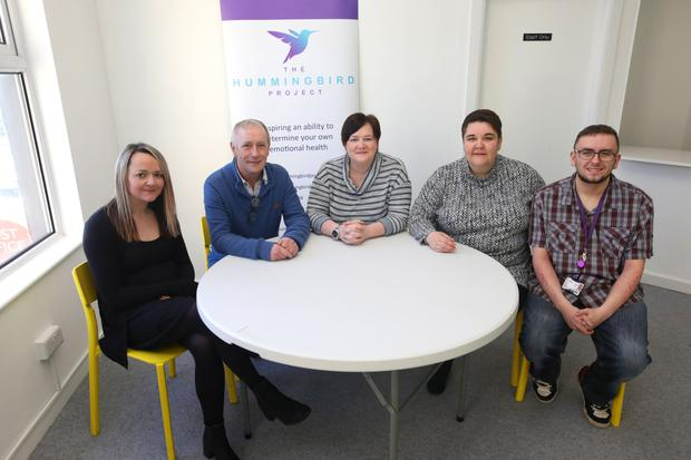 Making a difference: some of the team at the Hummingbird Project. From left, Kate McGonigle, service development lead James McAleese,executive director Leigh Carey, Jill Huston and Conor Warren