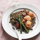 Jo's scallops with puy lentils, porcini and asparagus