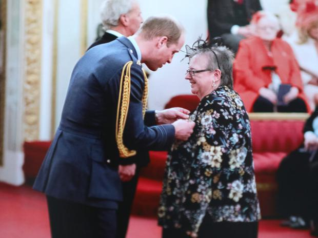 Patients' champion: Margaret Grayson from east Belfast who received an MBE from Prince William for services to cancer research