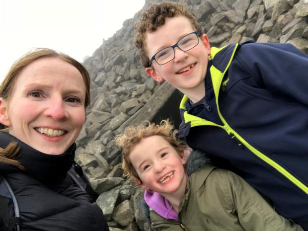 Maire O'Neill with her children Aodan and Niamh
