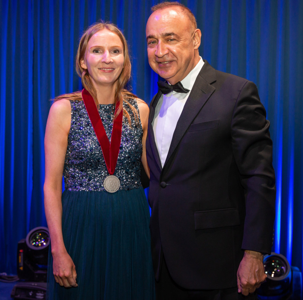 Maire O'Neill receives her latest award from Sir Leonard Blavatnik