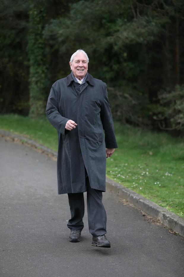 No stopping: Noel McGuigan continued to walk during his recovery from surgery
