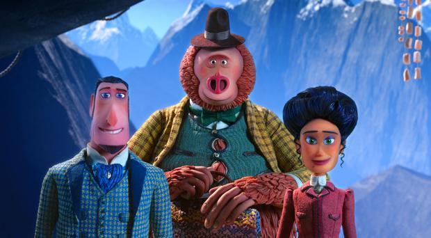Traveller's tale: Sir Lionel Frost (voiced by Hugh Jackman), Mr Link (Zach Galifianakis) and Adelina Fortnight (Zoe Saldana)