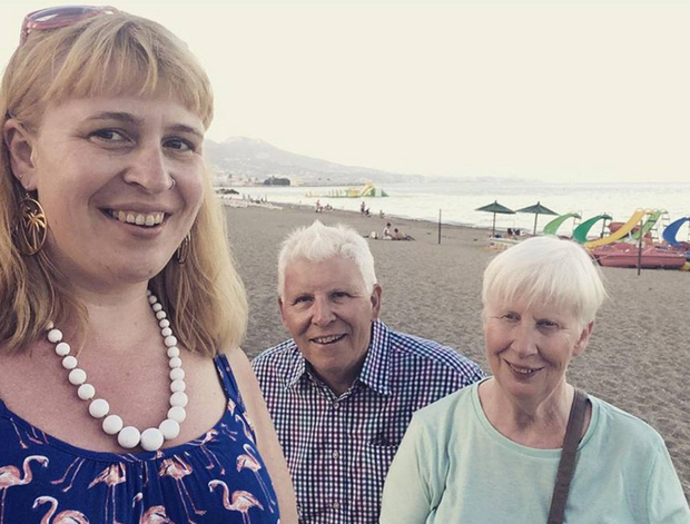 Jan with her mum and dad