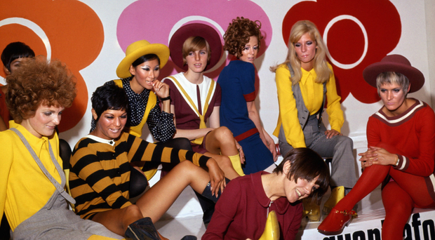Swinging Sixties: Mary Quant (in foreground) with models showing off her footwear in 1967