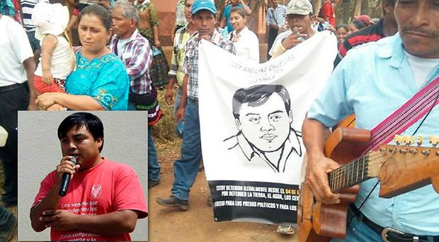 Public support: people protest over the imprisonment of activist Abelino Chub Caal (inset left)