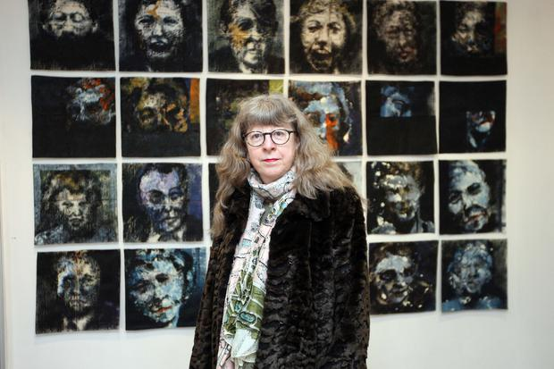 Personal exhibition: Elaine with some of Leslie's works