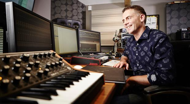 TV and film music composer Sheridan Tongue at work in the studio