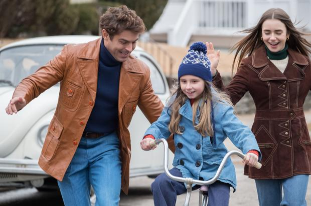 Zac Effron with Morgan Pyle and Lily Collins in the film
