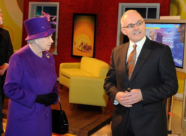 Frank Mitchell with the Queen after she launched UTV