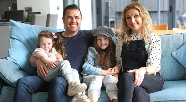 Family time: Pete Snodden relaxing at home in Bangor with wife Julia and daughters Elayna and Ivana