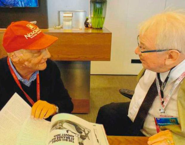 Good friends: Niki Lauda and Guy Edwards (right) chat at Silverstone in 2016