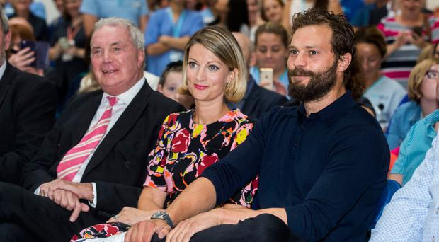 Good cause: Jessica with her father, Professor Jim Dornan, and actor brother Jamie during the pancreatic cancer charity NIPanC launch at the Mater Hospital in Belfast