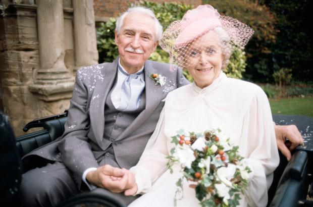 June with Arnold Peters, who played Jack, after they got married on the 40th anniversary edition of The Archers