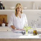 All white: Chrissie at home in her kitchen