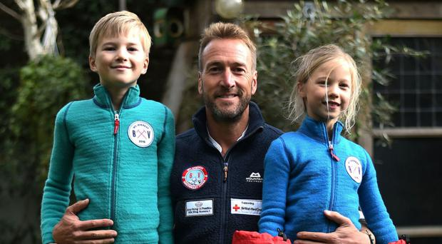 Encouraging bravery: Ben Fogle with son Ludo and daughter Iona