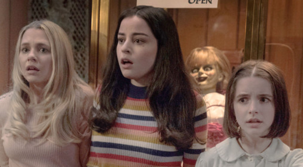 Behind you: Madison Iseman, Katie Sarife and Mckenna Grace in Annabelle Comes Home