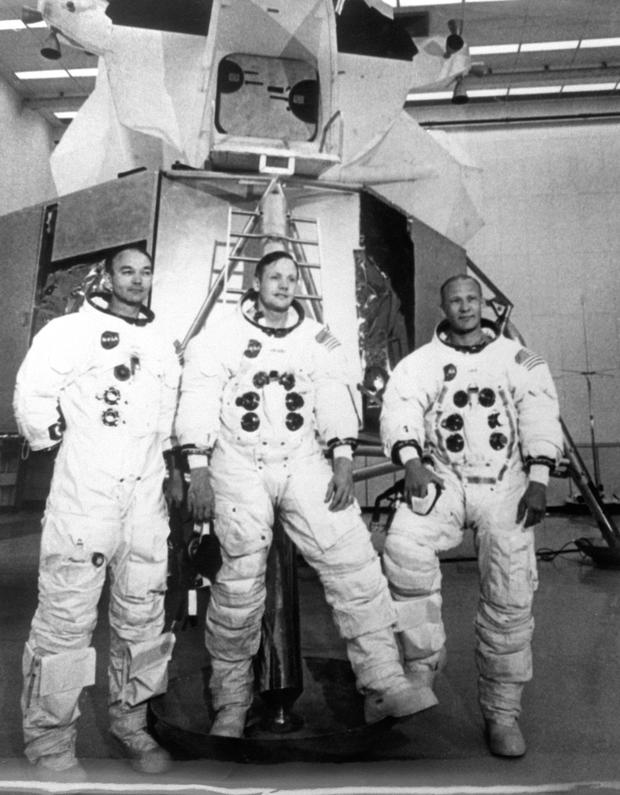 Buzz Aldrin, Armstrong and Michael Collins