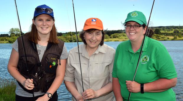 Reeled in: from left, Catherine Poxon, Madeleine Kelly and Pamela Martin