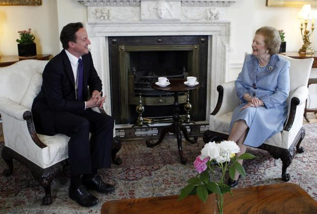 Meeting of minds: (left) Prime Minister David Cameron with Baroness Thatcher in 10 Downing Street