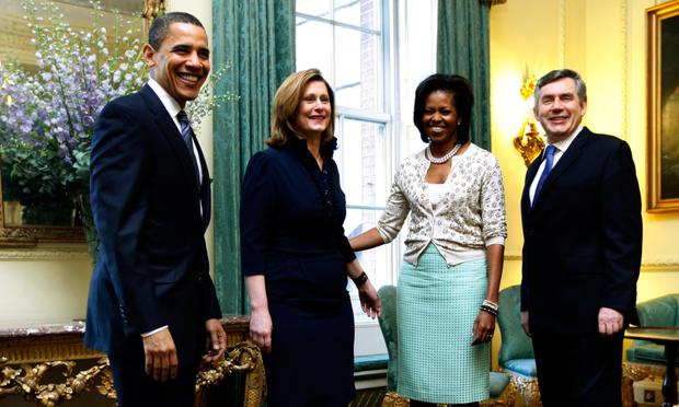 Corridors of power: ( centre) Prime Minister Gordon Brown with US First Lady Michelle Obama, Sarah Brown and US President Barack Obama in 2009