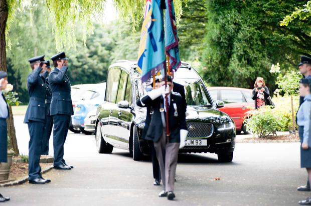 Hero's send-off: Harold 'Lee' Tracey was given a fitting funeral organised by veterans and members of the RAF, Air Cadets and British Legion