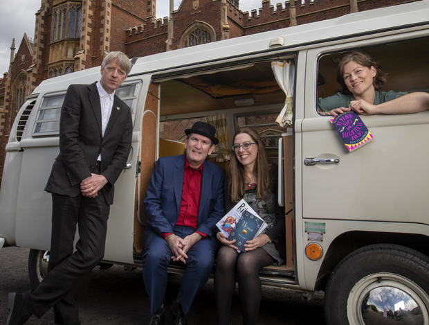 New role: Kelly McCaughrain (far right) with Myra Zepf, outgoing Seamus Heaney Writing Fellow, Glenn Patterson (far left), director of the Seamus Heaney Centre for Poetry at Queen's and Damian Smyth, head of literature and drama at the Arts Council of Northern Ireland