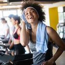 Working out: going to a busy gym can be intimidating but enjoyable